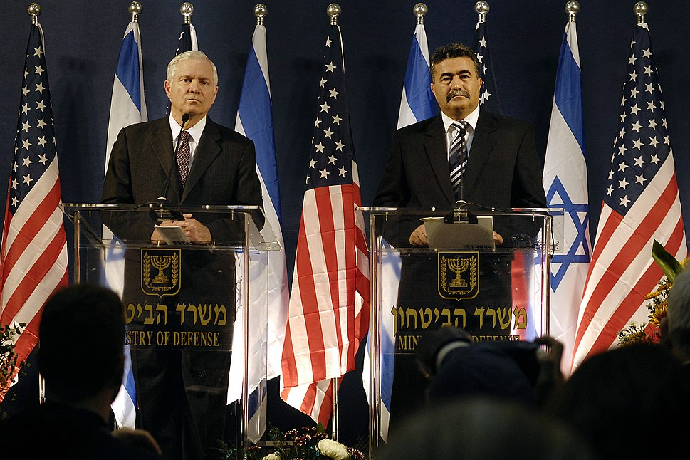 Amir Peretz and Robert M. Gates at press conference in Tel Aviv, 2007
