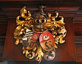 Amsterdam - Ons' Lieve Heer op Solder - coat of arms on the main room fireplace.JPG