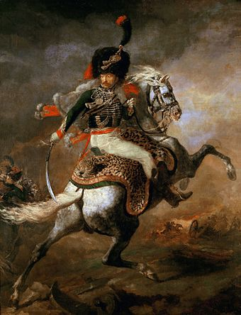 An officer of the Chasseurs a cheval of the Guard by Theodore Gericault, c.1812 An Officer of the Imperial Horse Guards Charging.jpg