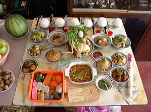 Ghost Festival - Food is offered to the ancestors during the annual Ghost Festival
