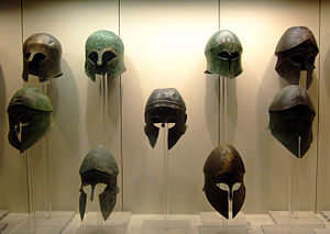 English: Ancient Greek helmets.