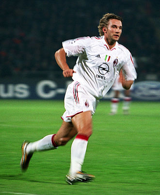 Andriy Shevchenko - Shevchenko with A.C. Milan during a UEFA Champions League game in 2004