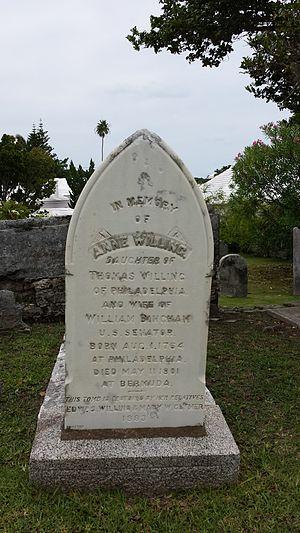 Ann Willing Bingham - Image: Ann Willing Bingham Tombstone