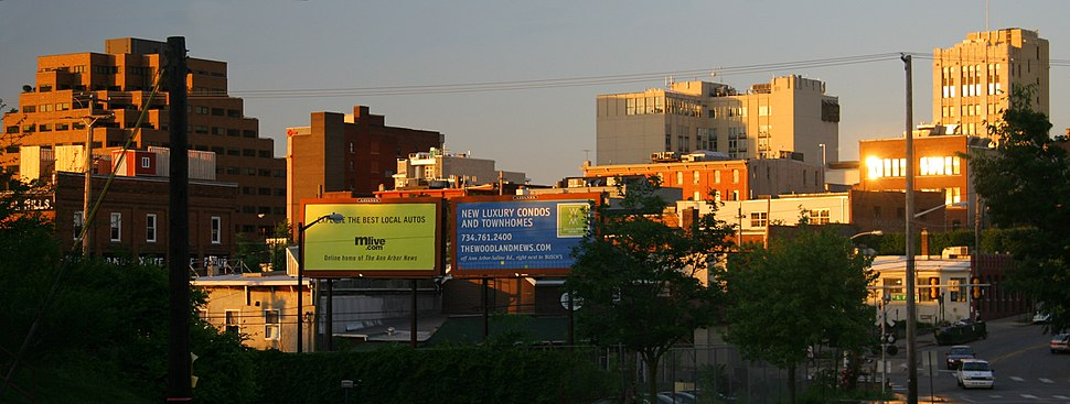 Downtown Ann Arbor at sunset