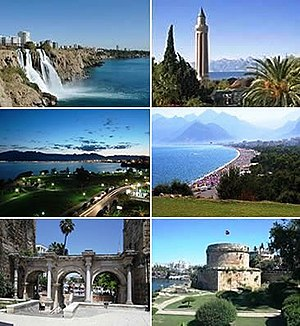 Antalya - Clockwise from top left: Düden Waterfalls, Yivliminare Mosque, Konyaaltı, Hıdırlık Tower, Hadrian's Gate and Falez Park at night.