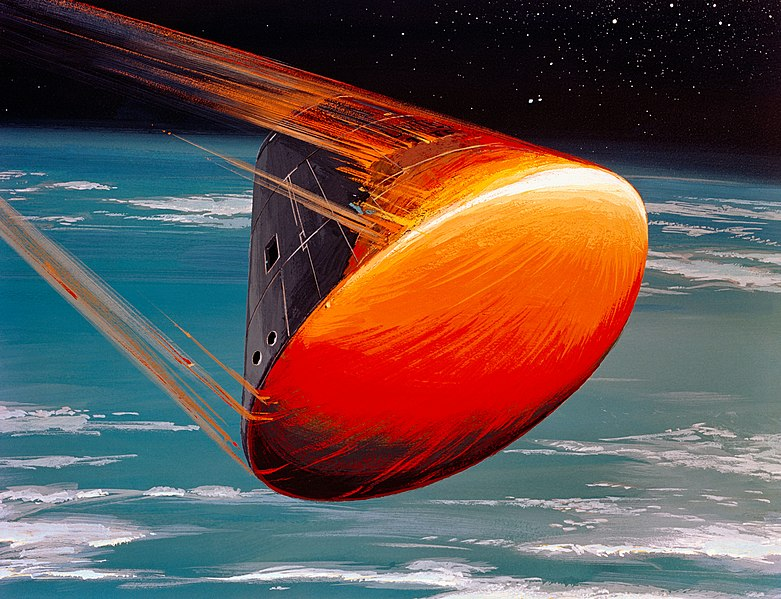 A North American Rockwell Corporation artist's concept depicting the Apollo Command Module (CM), oriented in a blunt-end-forward attitude, re-entering Earth's atmosphere after returning from a lunar landing mission. Note the change in color caused by the extremely high temperatures encountered upon re-entry.