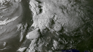 Tornado outbreak of April 27–30, 2014 - GOES 13 image of the storm complex and associated supercells at 2345 UTC on April 27
