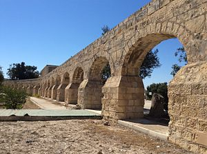 Wignacourt Aqueduct - Part of the aqueduct at Birkirkara, now on the grounds of a government school