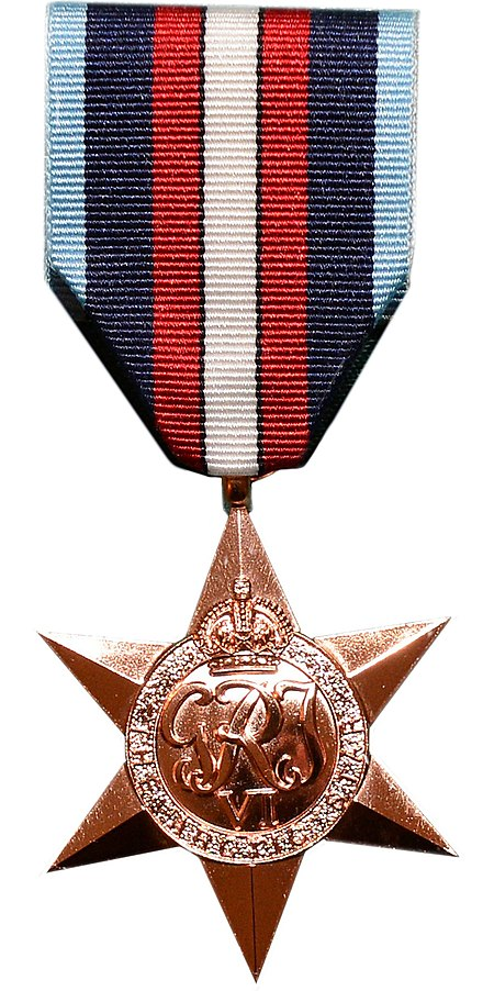 The Arctic Star medal recognises service between 1941 and 1945 delivering vital aid to the Soviet Union, running the gauntlet of enemy submarine, air and surface ship attacks. Arctic Star medal.jpg