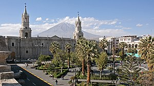 Arequipa - Image: Arequipa, Plaza de Armas and Volcan El Misti panoramio