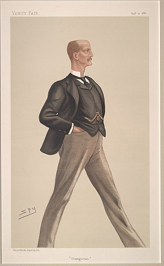 "Lord Arthur Hill - ""Orangeman"". Caricature of Lord Arthur Hill by Spy published in Vanity Fair in 1886."