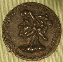 Artista toscano del XVI secolo, medaglia di Pietro Aretino, verso con testa composta da falli eretti.