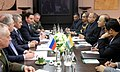 Arun Jaitley meeting the Russian Defence Minister, Mr. Sergei Shoigu, along with their respective delegates, on the sidelines of the 6th Moscow Conference on International Security, in Moscow.jpg