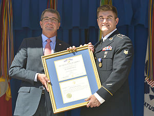 Soldier's Medal - U.S. Secretary of Defense Ash Carter presents the Soldier's Medal to Alek Skarlatos on September 17, 2015.