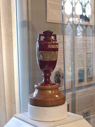 The Ashes - The Ashes urn, made of terracotta and about 15 cm (6 inches) tall, is reputed to contain the burnt bails of the stumps.