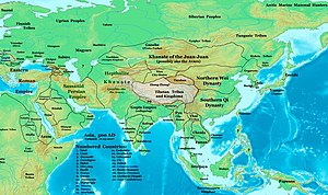 Mongols - Asia in 500, showing the Rouran Khaganate and its neighbors, including the Northern Wei and the Tuyuhun Khanate, all of them were established by Proto-Mongols