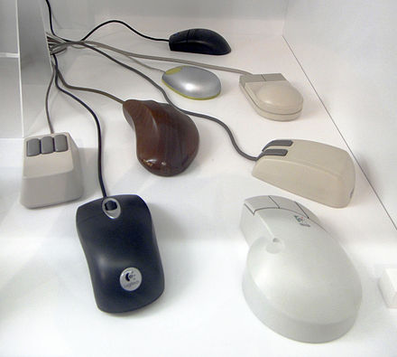 Computer mice built between 1986 and 2007 Assorted computer mice - MfK Bern.jpg