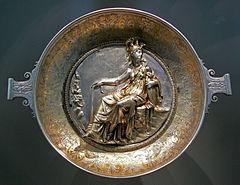 Goddess Minerva on a Roman silver plate, 1st century BCE