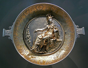 Minerva - Raised-relief image of Minerva on a Roman gilt silver bowl, first century BC