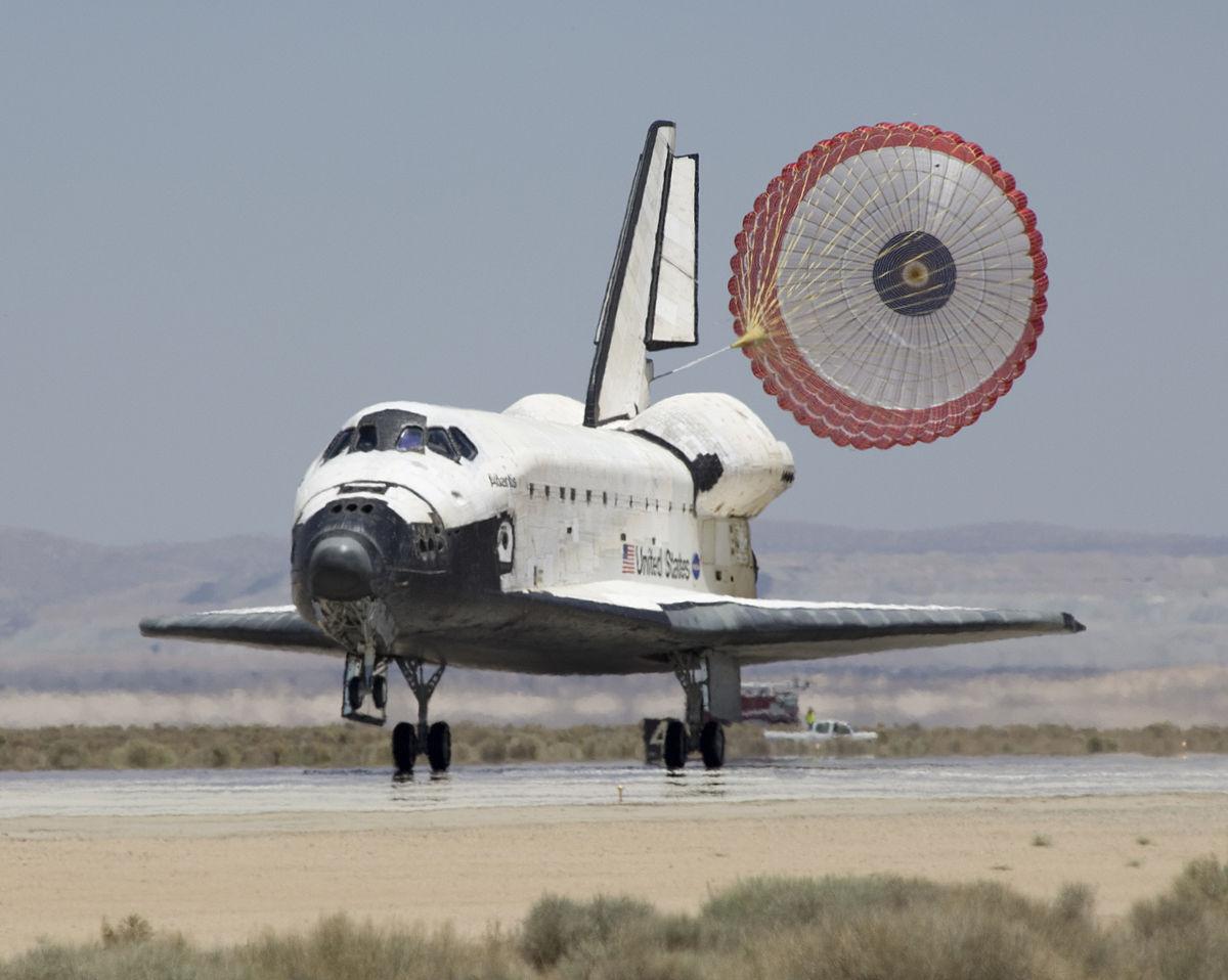 during a space shuttle landing a parachute deploys - photo #10