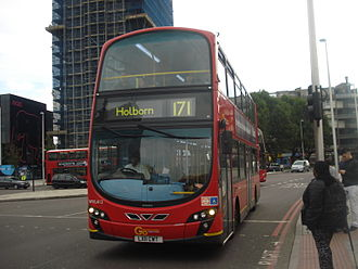London Buses route 171 - London Central Wright Eclipse Gemini 2 bodied Volvo B9TL at Elephant & Castle in October 2013