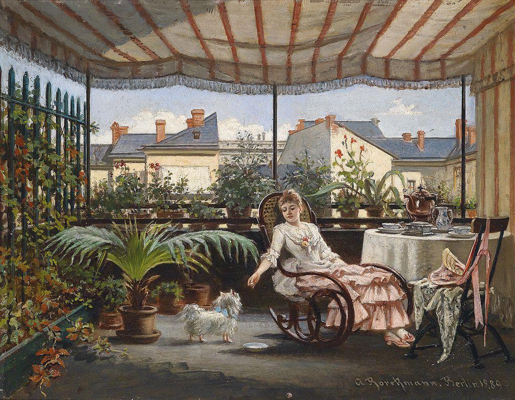 August Borckmann Teestunde auf der Veranda 1889