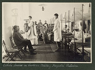 Military hospital - Catholic service in Austrian military hospital during World War I.