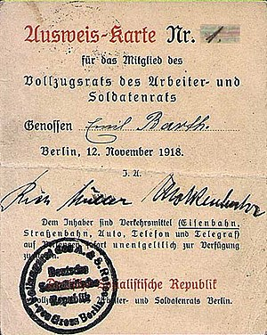 Richard Müller (socialist) - Passport Nr. 1 for Emil Barth, member of the Berlin Executive Council (highest-ranking worker´s council in the German Revolution); with signatures from Richard Müller and Brutus Molkenbuhr