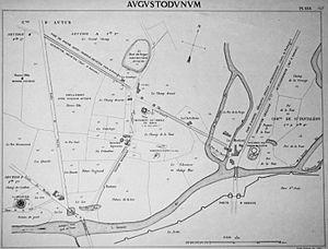 Temple of Janus (Autun) - Map of la Genetoye in 1872 after J.-G. Bulliot's excavations.