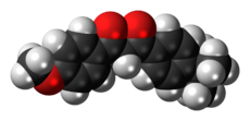 Space-filling model of the avobenzone molecule