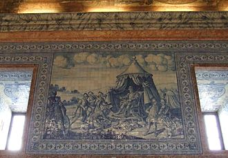 Castro Verde - 'D. Afonso Henriques', azulejo of the monarch in the Royal Basilica of Castro Verde dedicated to the Battle of Orique