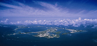 Geography of Bermuda - Aerial view of Bermuda looking west, St. David's and St. George's in foreground