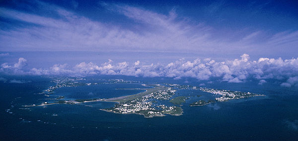 Aerial view of Bermuda looking west — St. David's and St. George's are in the foreground