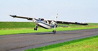 Crosswind landing - BN-2 Islander performing crosswind landing with left wing down at 30 kts crosswind