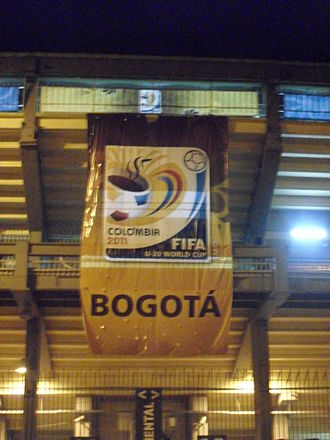 2011 FIFA U-20 World Cup - Banner at the Estadio Nemesio Camacho El Campín, Bogotá, promoting FIFA U-20 World Cup Colombia 2011