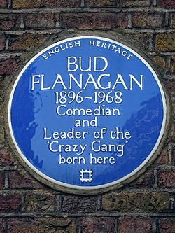 Bud flanagan 1896 1968 comedian and leader of the %27crazy gang%27 born here
