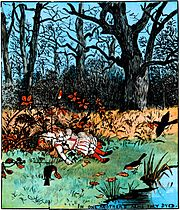 Babes in the Wood, illustrated by Randolph Caldecott: the children die in each other's arms, and the robins take up leaves to bury them