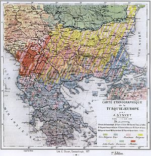 Ethnic composition map of the Balkans by A. Synvet in 1877, a French professor of the Ottoman Lyceum of Constantinople. It was considered as pro-Greek by later historians. Balkans-ethnic (1877).jpg