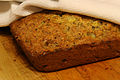 Banana bread partially covered, January 2010.jpg