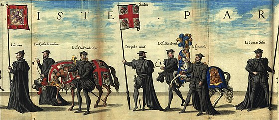 Flag of the Kingdom of Sardinia (center) at the funeral of Charles I of Spain - Sardinia