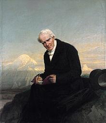 Das letzte Porträt von Alexander von Humboldt von Julius Schrader (1859). ImHintergrund der Chimborazo. (Quelle: Wikimedia)