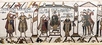 Coronation of the British monarch - Coronation of Harold II of England at Westminster Abbey in 1066. From the Bayeux Tapestry.