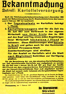 Hungersnot im Deutschen Reich im Winter 1916/17 während des Ersten Weltkriegs