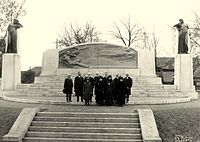 Dedication of the memorial, including Alexander Graham Bell, members of his family plus committee members