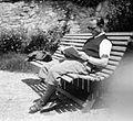 Bench, relaxation, reading, man, smoking, shades Fortepan 6436.jpg