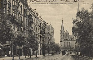 Kurfürstendamm - View to Kaiser Wilhelm Memorial Church, 1916 postcard
