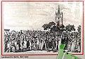 Berlin-Friedrichshain Dorfkirche Stralau Fest vor der Kirche um 1830 auf Hinweistafel.JPG