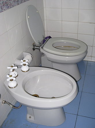 Bidet - A 20th century standalone bidet (foreground)