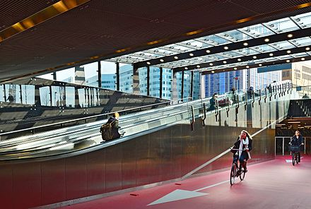 Bike passage at Rotterdam Centraal station Bike entrance Rotterdam Central Station.jpg