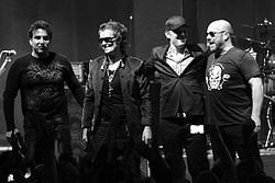 Black Country Communion in Belgien 2011. Von links nach rechts: Derek Sherinian, Glenn Hughes, Joe Bonamassa, Jason Bonham
